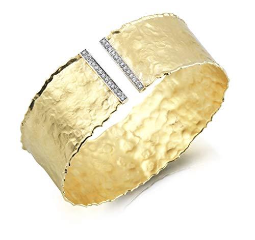 I REISS 14K Yellow Gold 0.31ct TDW Diamond Hammered-Finish Cuff ()