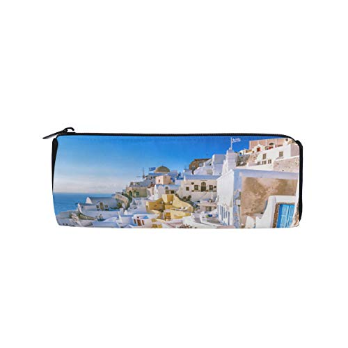 (Traditional and Famous Houses Santorini Students Super Large Capacity Barrel Pencil Case Pen Bag Cotton Pouch Holder Makeup Cosmetic Bag for Kids)