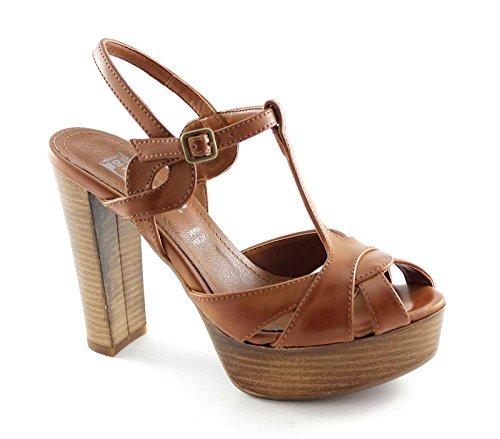 SP503 FOLLIE DIVINA sandalias de cuero de tacón alto de las mujeres mesetas que entretejen Marrone