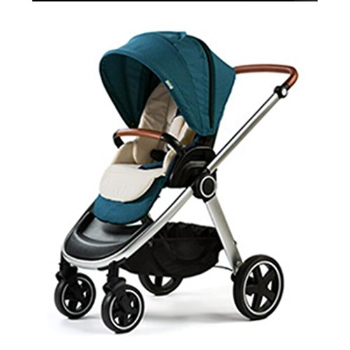 PLDDY Standard Baby Carriage High Landscape Can Sit Horizontal Portable Folding Two-Way Off-Road Damping Car Newborn Four Seasons Universal Optional 3 Color Travel (Color : Green)