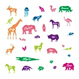 decalmile Colorful Glow in The Dark Animal Wall Decals Unicorn Elephant Zebra Kids Wall Stickers Removable Vinyl Wall Art for for Kids Bedroom Baby Room Nursery Playroom