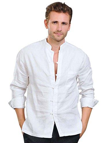 (utcoco Men's Linen Mandarin Collar Roll-Up Sleeves Casual Buttoned Shirt (Large, white2))