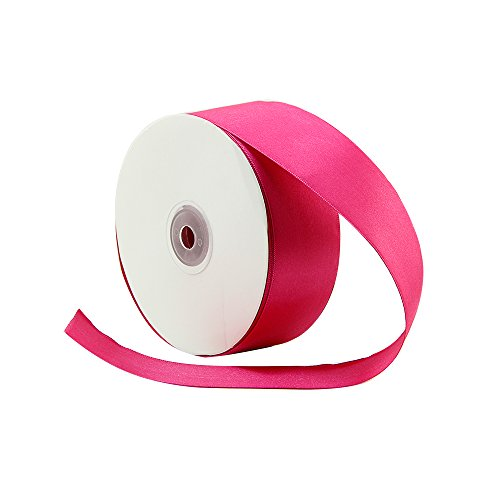 (VATIN 1-1/2 inch Wide Double Face Solid Satin Ribbon Roll - 50-Yards ( Hot Pink))