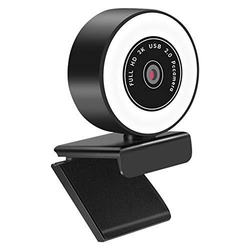 TONGHUA Streaming Webcam W/Mic and Ring Light, 2K Adjustable Brightness Web Camera for Facetime Laptop Desktop