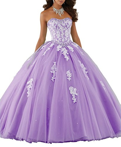 Meledy Women's 2016 Sweetheart Ball Gown Strapless Sequins Backless Quinceanera Dress Tulle Appliques Beading Sweet 15 Purple US6 Ball Gown Strapless Beading