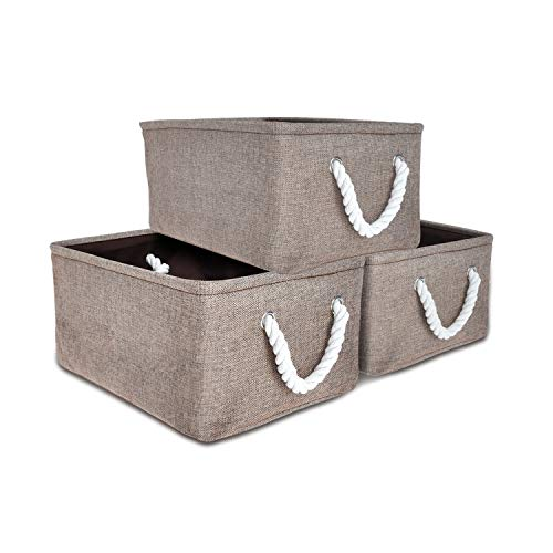 Expo Essential - 3 Pack - 14''x11''x6'' Collapsible Storage Baskets Linen Bin Cube Foldable Toy Organizer, Bathroom Kitchen Fabric Storage with Dual Rope Handles by Expo Essential