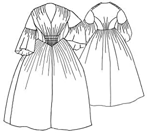Guide to Victorian Civil War Costumes on a Budget 1856 Gathered Dress Pattern $19.20 AT vintagedancer.com