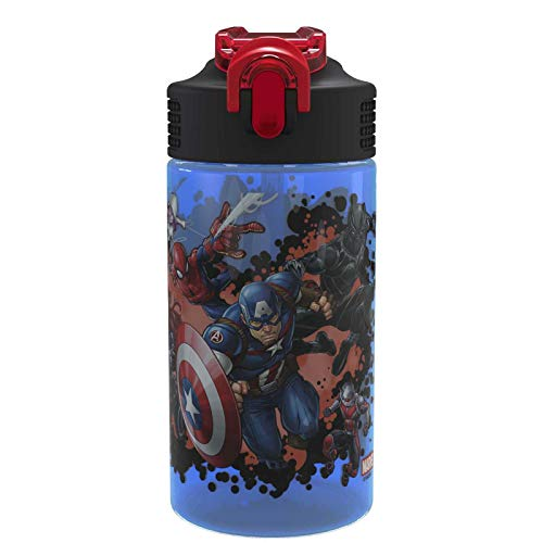 Zak Designs Marvel Comics Water Bottle with Straw - Captain America, Iron Man & Groot (Captain Bottle)