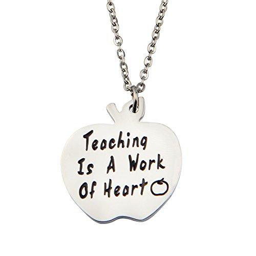 Zuo Bao Teacher Gift - Back to School Gift - Teacher Appreciation - Teacher Keychain - Teaching Is A Work Of Heart (Necklace)