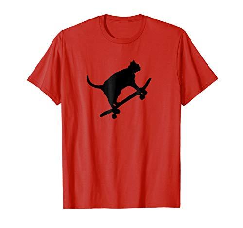 Mens Hilarious Black Cat On Skateboard T-Shirt Drawing Sports Art Large Red
