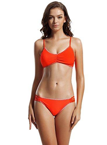 1e401ee27fbb0c zeraca Women's Strap Side Bottom Crochet Racerback Bikini Bathing Suits (FBA)  (XS2,