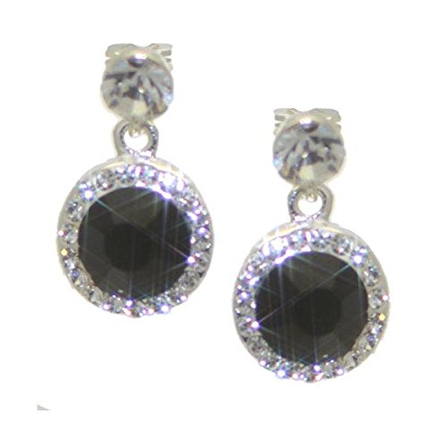 CAOILINN 14mm Silver tone Jet Crystal Clip On Earrings