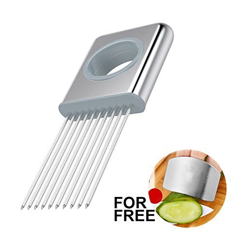 Best Utensils Onion Holder Slicer Vegetable Tools Stainless Steel Easy Onion Holder Slicing Guide Vegetable Tomato Lemon Meat Holder Slicer Tools Cutter, Cutting Kitchen Gadget, Silver ()