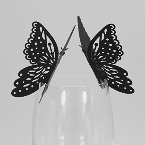 Glass Wine Cup Card,Ecosin New 50 Pcs Butterfly Wine Glass Paper Card for Wedding Party White (Black)