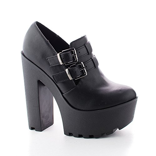 Zealand Black Double Buckle Ankle Strap Lugsole Platform Chunky Heels-7.5 (Double Buckle Ankle Strap)