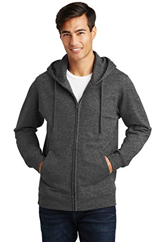 Sportoli Men's Adult Hooded Fleece Slim Fit Zipper Full Zip Up Hoodie Sweatshirt - Charcoal (Large)