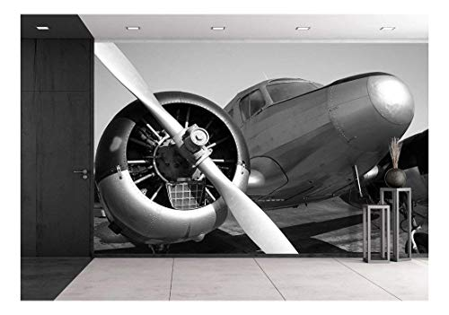 wall26 - Vintage Twin Engine Airplane - Removable Wall Mural | Self-Adhesive Large Wallpaper - 100x144 inches