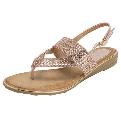 (VIVASHOES Womens Slingback Summer Strappy Diamante Toe Post Wedge Heel Sandals - Rose Gold- US6/EU37 - KL0405)