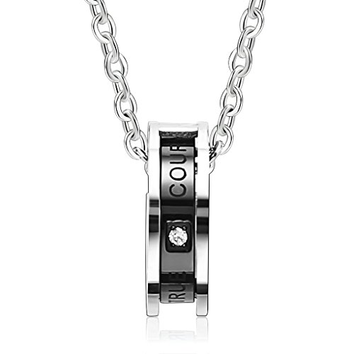 KnBoB Stainless Steel Men's Necklaces Interlocking Rings Black Silver Pendant Necklace (Interchangeable Pendant Hanger)