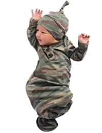 COLOOM Newborn Boy Girl Coming Home Outfit Camouflage Sleep Sacks Gowns Swaddle + Hat Cap