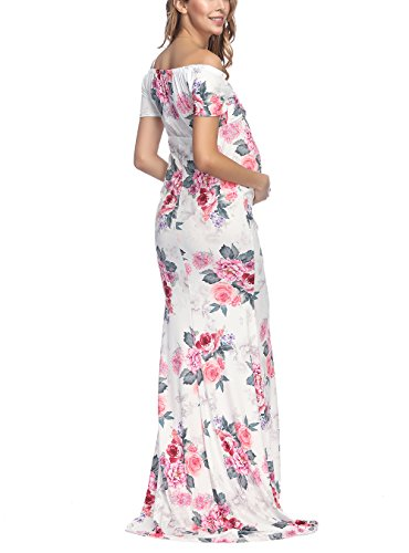 VSNOW Women's Off Shoulder V Neck Short Sleeve Floral Maternity Slim Fit Gown Maxi Photography Dress by VSNOW (Image #4)