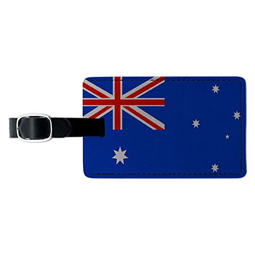 Graphics & More Australia Flag Leather Luggage Id Tag Suitcase Carry-on, Black