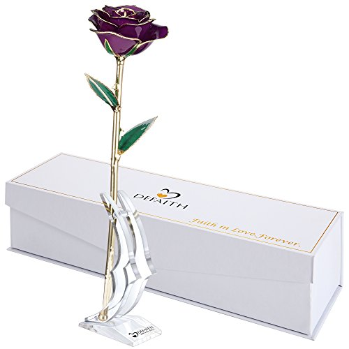 Purple Gold Rose, DEFAITH 24K Gold Trimmed Long Stem Real Rose with Moon-shape Rose Stand. Last a Lifetime. Great Gift for Birthday and Anniversary