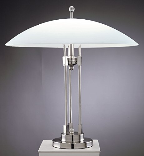Lite Source LS-3619PS/FRO Orbiter Table Lamp, Polished Steel with Frost Glass Shade (Frost Halogen Floor Lamp)