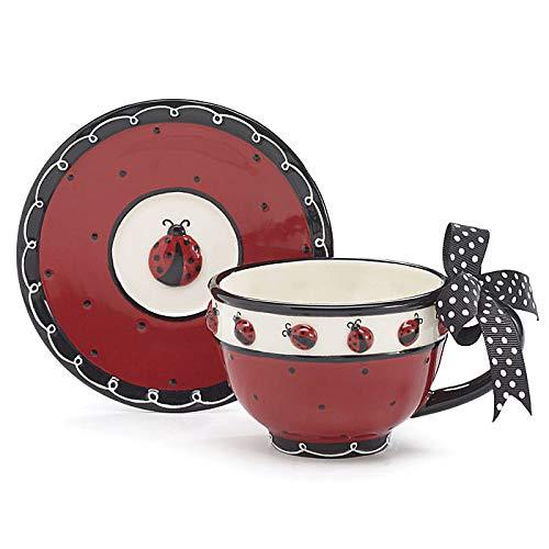 Whimsical Ladybug Teacup and Saucer Set with Bow on Handle Adorable Teacup for Teas
