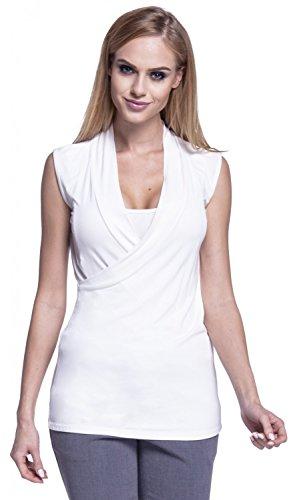 Happy Mama. Para Mujer Top de Lactancia Camiseta Cuello Doble Capa Cruzado. 265p Blanquecino