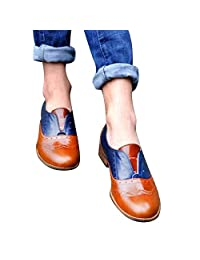 Size 5.5-9.5 Women's Round Toe Flat Shoes Leather Booties Slip-On Square Heel Party Dress Single Shoes