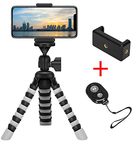 Shutter Wrap (Mini Flexible Tripod Holder with Wireless Remote Shutter, Adjustable Mobile Phone Mount, Universal Octopus Stand for iPhone, Samsung, Camera (Gray))