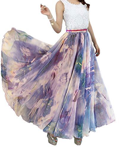 Afibi Womens Blending Chiffon Retro Long Maxi Skirt Vintage Dress (Medium, Pattern 106)