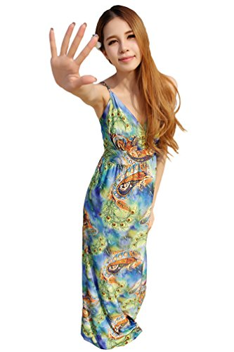 WanYang Femmes Col V Plage Sundress Impression Harnais Robe en Plus Sundress #_3