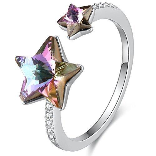 SUE'S SECRET  Embalaje de Regalo Anillo de Swarovski Elemento Arco Iris Color Estrellas Ajustable...