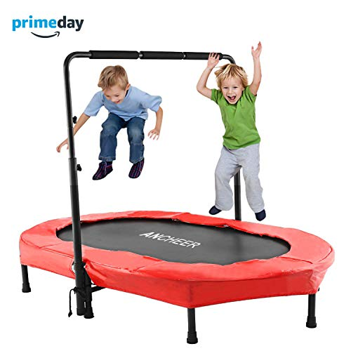 Childrens Mini - ANCHEER Mini Rebounder Trampoline with Adjustable Handle for Two Kids, Parent-Child Trampoline (Red)