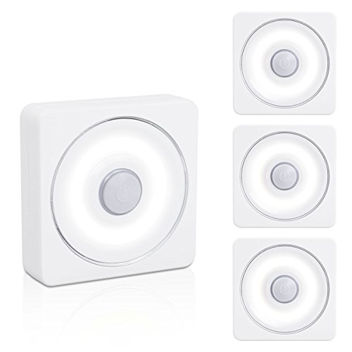 (VIBELITE Tap Light, Closet light, Touch Battery-Powered LED Night Light, Magnet Stick-on Anywhere Stair light, Safe Lights for Hallway, Bedroom, Cabinets, etc. (White - Pack of 4))
