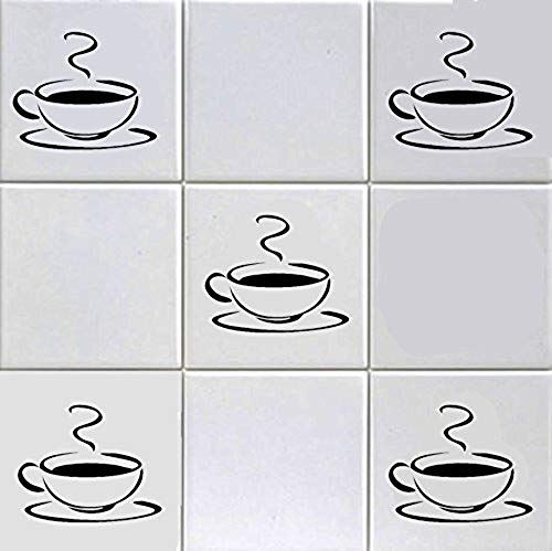 12 X Black Coffee Cup Tile Stickers 6 inch Tiles Kitchen Wall Art Shop Home Hotel Bar Cafe