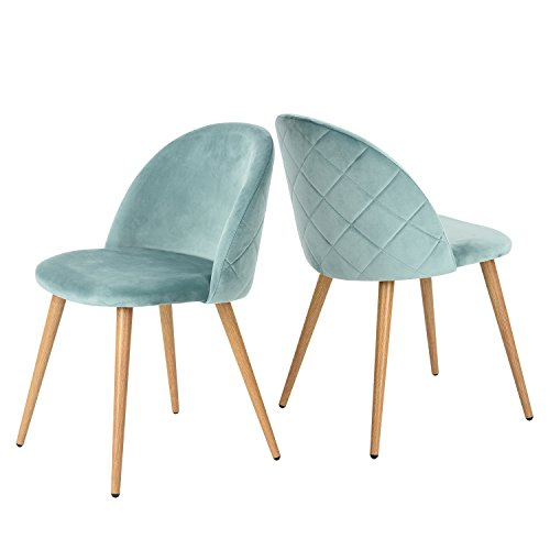 GreenForest living Room Leisure Chair. Wood Legs Velvet Fabric Cushion Seat Mental Wood Legs Rack Support Low-Back Soft Back for Living Room Chairs, Set of 2 Green