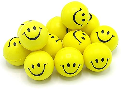 Dazzling Toys 12 Pack Happy Smile Face Stress Ball 1.5 Inch Balls - Pack of 12 - Neon Smile Face Relaxable Squeeze Balls in Yellow Color