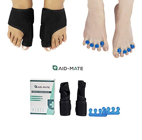 Aid-Mate Bunion Corrector and Bunion Relief Kit | Bunion Splint | Toe Separators | Hammer Toe Straightener | Toe Spacers | Orthopedic Bunion Corrector for Men and ()
