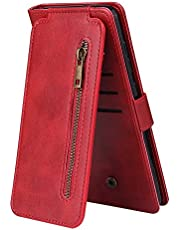 Miagon Multi-functional Zipper Wallet Case for Samsung Galaxy S21 Plus,Magnetic Handbag Dual Folio Leather Stand Flip Case Cover with 9 Card Slots Wrist Strap,Red