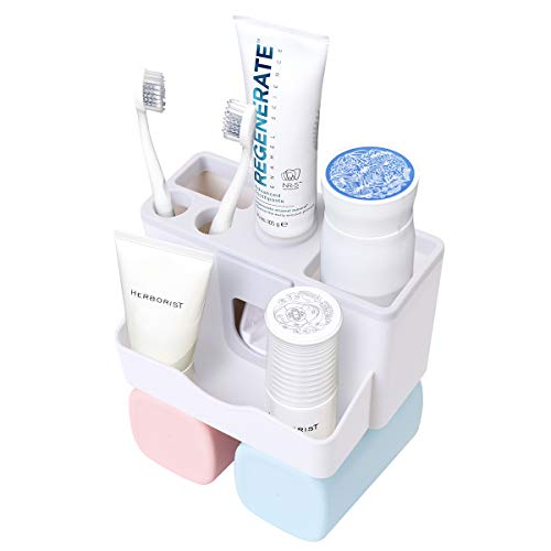 Freestanding Holder Toothbrush - AICase Toothbrush Holder, Toothbrush Holder with Automatic Toothpaste Dispenser,Detachable for Cleaning,Free-Standing Installation with Water Drainer (Self Adhesive 2 Cups)