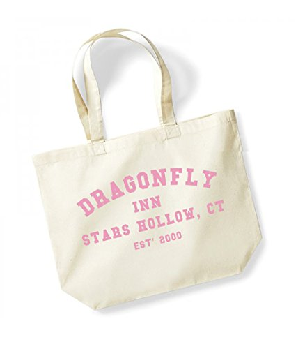 Dragonfly Inn Stars Hollow, CT, Est' 2000 - Large Canvas Fun Slogan Tote Bag Natural/Pink