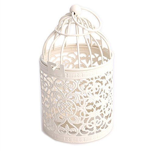 - Candle Holder, New Vintage Creative Hollow Hanging Bird Cage Candle Holder Candlestick Lantern Party Wedding Home Decor,Best Anniversary, Birthday (White)