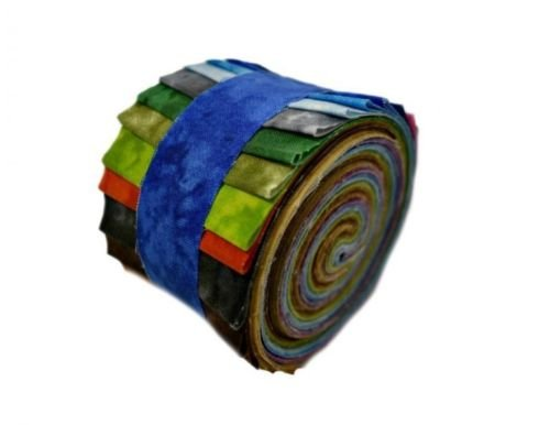 2.5 inch Jewel Tone Jelly Roll 100% Cotton Fabric Quilting Strips ()