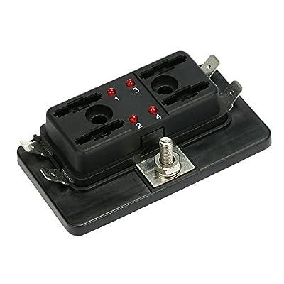 4 Way Fuse Block,Ninth-City DC12V-24V 4 Way Blade Fuse Box Holder with LED Warning Light Kit: Automotive