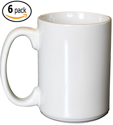 ITI Ceramic Grande Coffee Mugs with Pan Scraper, 13 Ounce (6-Pack, Pure White)