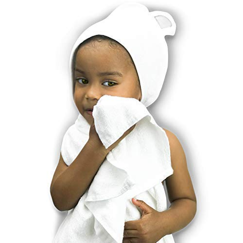 CutieQ Large Organic Bamboo Hooded Baby Towel with Ears for Baby Girl or Boy - Extra Absorbent and Soft Hypoallergenic Baby Bath Towels | New Baby Shower Gift | Kids Beach Towel | Infants & Toddlers