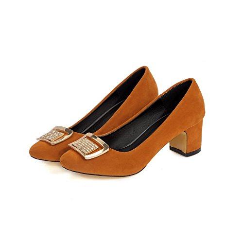VogueZone009 Damen Mittler Absatz Ziehen auf Mattglasbirne Quadratisch Zehe Pumps Schuhe Gelb